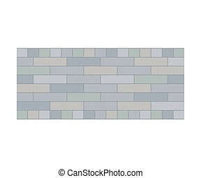 Gray path of bricks. View from above. Vector illustration on a white background.