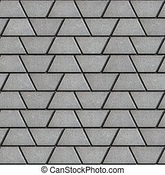 Gray Paving Slabs in the Form of Trapezoids.