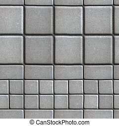 Gray Paving Slabs Lined with Squares of Different Value and Rectangles.