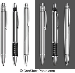 Gray pens - Gray ball pens isolated on white background,...
