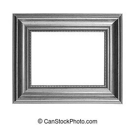 Gray picture frame isolated on white background with clipping path