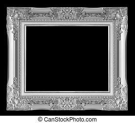 gray picture frame. Isolated over black background