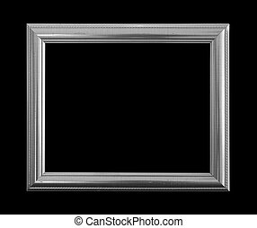 Gray picture frame on black background.