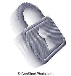 Gray pixel icon-like image of padlock