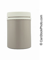 Gray plastic medical container for pills or capsules