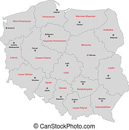 Gray Poland map - Administrative division of the Republic of...