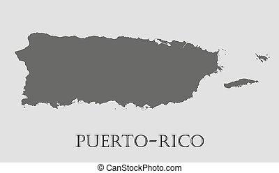 Gray Puerto-Rico map - vector illustration