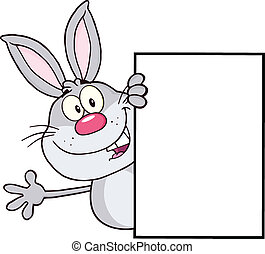 Gray Rabbit Around A Blank Sign
