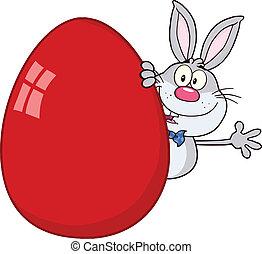 Gray Rabbit Behind Easter Egg