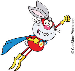 Gray Rabbit Superhero Flying