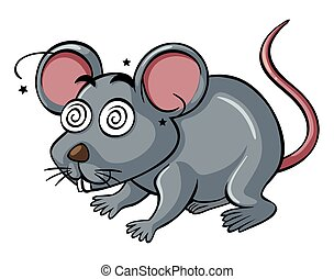 Gray rat with dizzy face