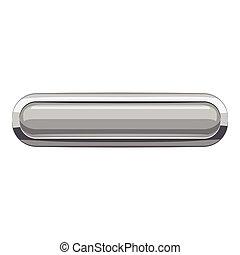 Gray rectangular button icon, cartoon style