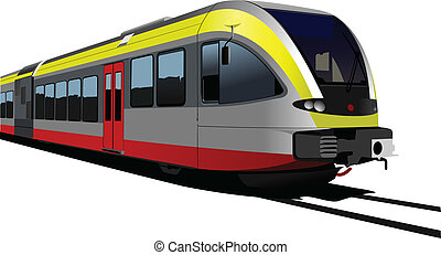 Gray-red-yellow modern speed bullet train. Fast suburban, subway, metro, commuter, hovercraft. Vector illustration.