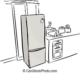 gray refrigerator in kitchen vector illustration sketch doodle hand drawn with black lines isolated on white background