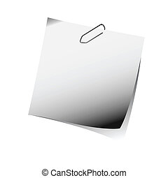 gray reminder note with paper clip