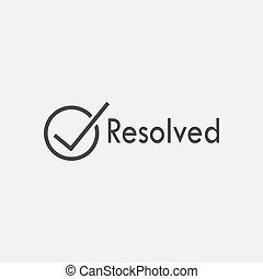 Gray resolved icon isolated on white background. Trandy flat solution sign. Vector illustration.