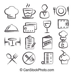 Restaurant Doodle Icons - Gray Restaurant Doodle Icons on...