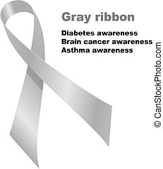 Gray ribbon. Diabetes awareness. Brain cancer awareness. ...