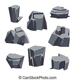 Gray rock stone set. Vector illustration, isolated on white.