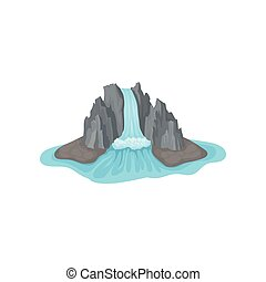 Gray rocky mountain on island surrounded by water. Big waterfall. Landscape element for mobile game. Flat vector icon