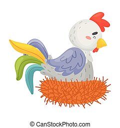 Gray rooster with a colorful tail in the nest. Vector illustration on a white background.