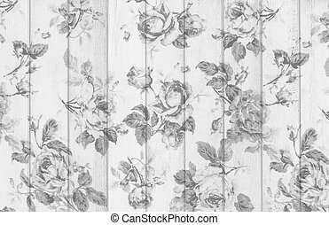 gray rose vintage from fabric on white wooden background