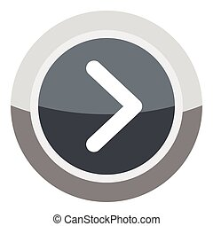 Gray round button icon, cartoon style
