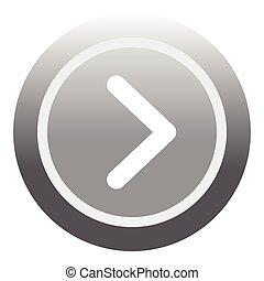 Gray round button icon, flat style