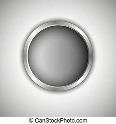 Gray round button. Vector Illustration.