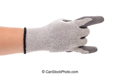 Gray rubber protective glove on a white background