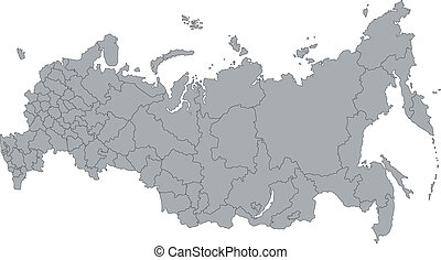 Gray Russia map - Administrative division of the Russian...
