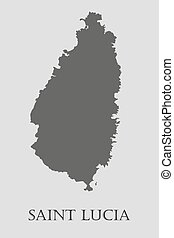 Gray Saint Lucia map - vector illustration - Gray Saint ...