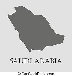Gray Saudi Arabia map - vector illustration - Gray Saudi...