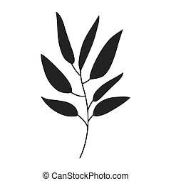 gray scale big leaves olive vector illustration
