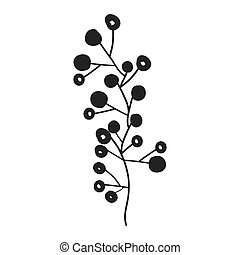 gray scale branch olive with fruits vector illustration