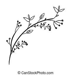 gray scale decorative branch with leaves vector illustration