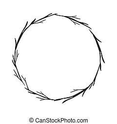 gray scale decorative crown branch vector illustration