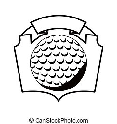 gray scale emblem with golf ball vector illustration