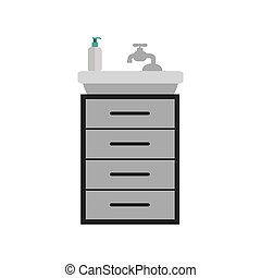 gray scale silhouette washstand with small furniture vector...