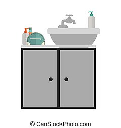 gray scale silhouette washstand with cabinet vector...