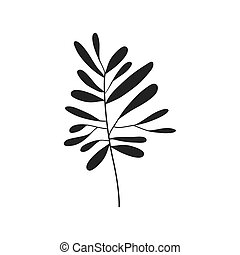 gray scale small leaves olive vector illustration