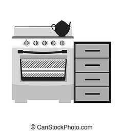 gray scale stove with shelf vector illustration