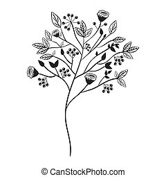 gray scale with floral branch vector illustration