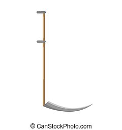 Gray scythe on white background isolated. Instrument for mowing with wooden handle in style flat. Garden tool