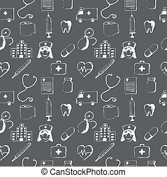 Gray seamless pattern-medical items. This illustration is...