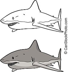 gray shark vector illustration sketch doodle hand drawn with black lines isolated on white background