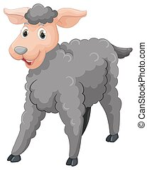 Gray sheep with happy face