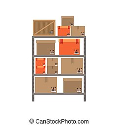 gray shelves with sealed package