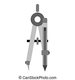 gray silhouette compass with pencil