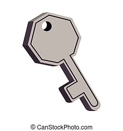 gray silhouette key icon with shadow